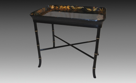 Antique Early Victorian Papier-Mâché Tray on Stand of Small Size