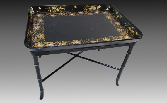 Antique Early Victorian Papier-Mâché Tray on Stand