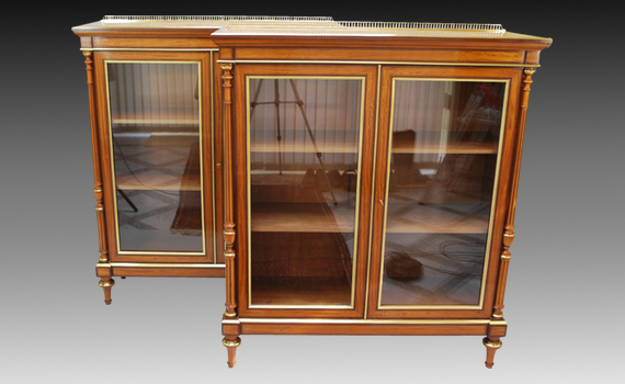 Fine Pair of Victorian Satinwood Cabinets/Bookcases