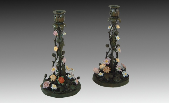 Antique Bronze & Porcelain Mounted Candlesticks