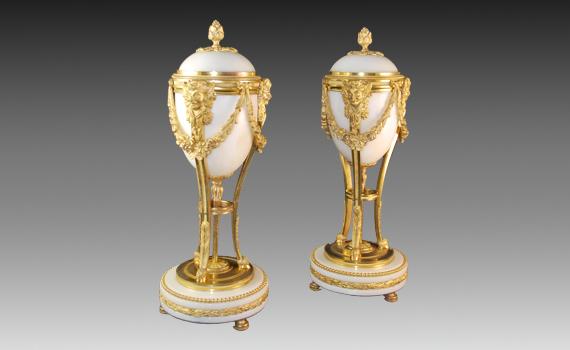 Napoleon III Gilt & Marble Cassolettes