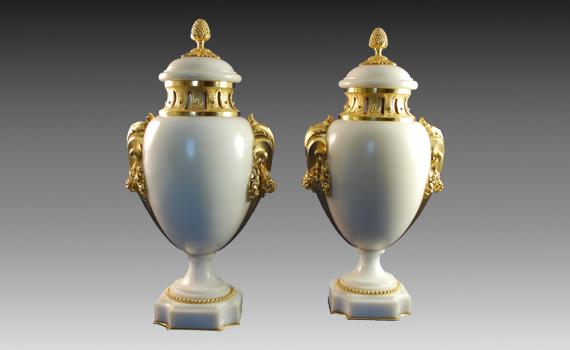 Susse Freres Marble & Gilt Vases
