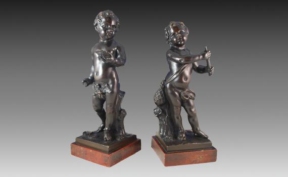 Pair of Napoleon III Bronze Putti
