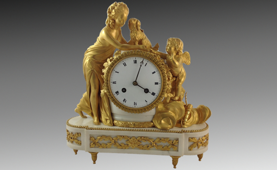 French Directoire Gilt Bronze & Marble Mantel Clock
