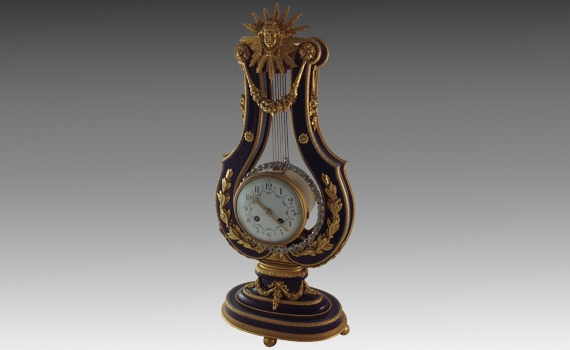 Blue du Roi Lyre Clock