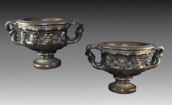 A Pair of Antique Bronze Albani Vases by Susse Freres