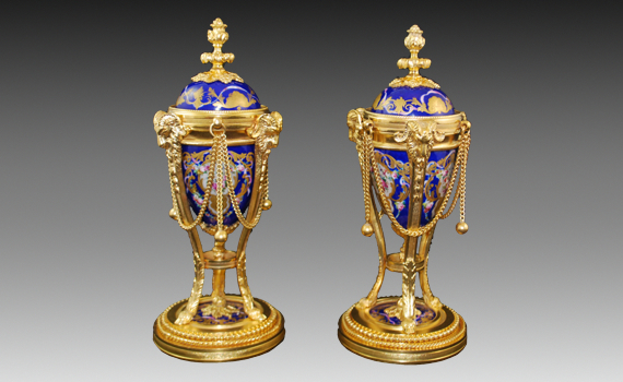 Gilt Bronze & Porcelain Cassolettes