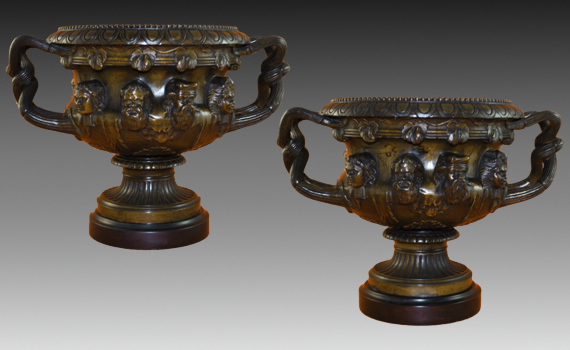 Antique Pair of Large Patinated Bronze Albani Vases