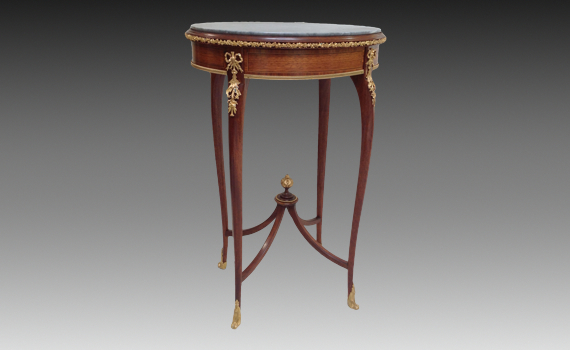 French Marble, Walnut & Gilt Metal Mounted Table