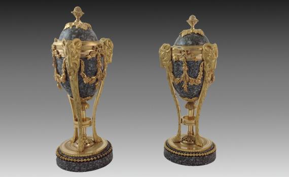 Marble & Gilt Bronze Cassolettes