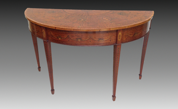 Satinwood Marquetry Inlaid Pier Table