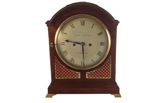 James Waring Liverpool Mahogany Bracket Clock