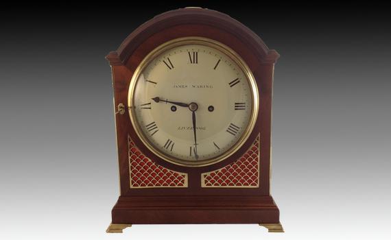James Waring Liverpool Mahogany Bracket Clock