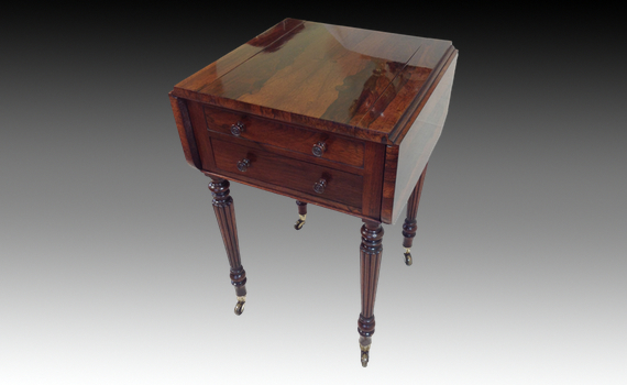 'Gillows' Style Rosewood Games Pembroke Table 'Miles & Edwards'