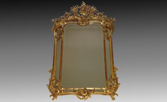 French Giltwood & Gesso Mirror