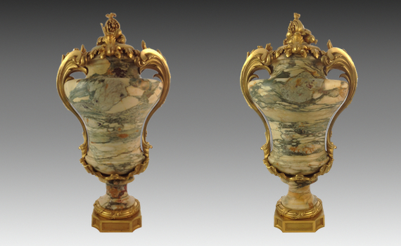 Pair of Marble & Gilt Bronze Urns