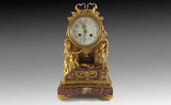 Napoleon III Gilt Bronze & Marble Clock