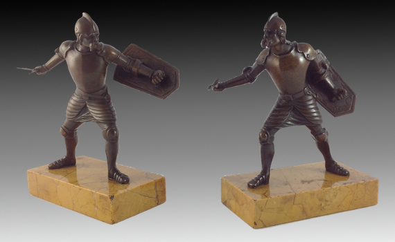 Pair of Bronze Figures of Fighting Warriors