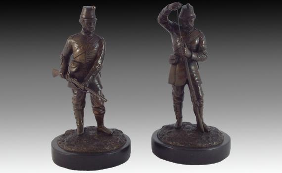 Pair of Bronze Soldiers