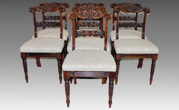 Set of Seven Albuera Wood Dining Chairs by S Hughes