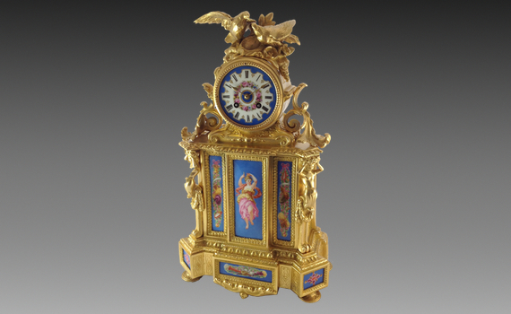 Porcelain & Gilt metal Mantel Clock by PH Mourey