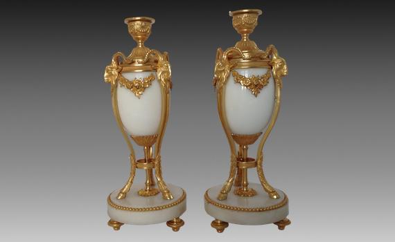 Marble & Gilt Bronze Cassolettes Louis XVI Style