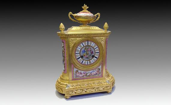 Napoleon III Gilt Bronze & Porcelain Clock