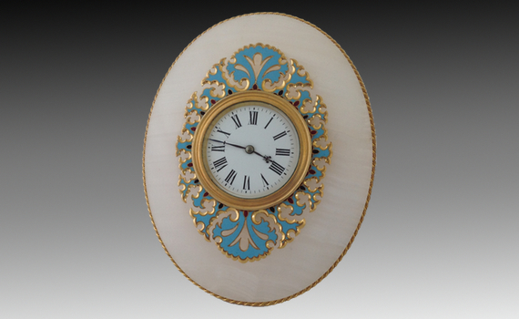 Antique French Onyx and Champlevé Desk Timepiece