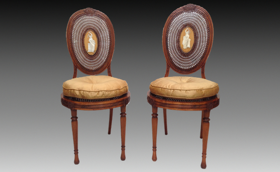 """A Pair of Late Victorian Satinwood 'Adam"""" Style Side Chairs."""