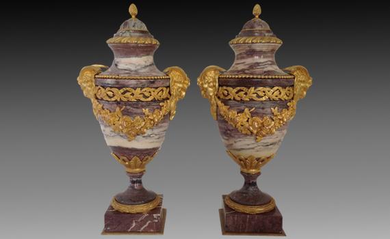 Napoleon III Gilt Bronze & Marble Urns