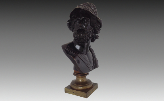 Antique French 19th century Bronze Patinated Bust of Menelaus (Ajax)