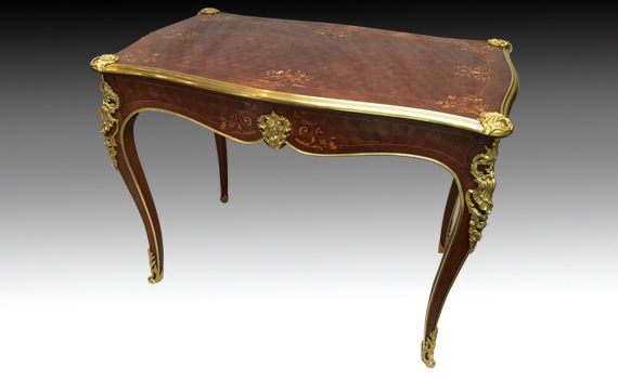 Antique French Rosewood Parquetry & Marquetry Inlaid Centre Table