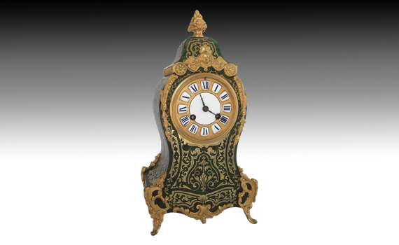 French Green Tortoisehell Boulle Clock by Delettrez & Klaftenberger.