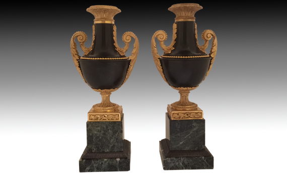 Pair of Louis XVI Style 19th Century Gilt & Patinated Bronze Urns