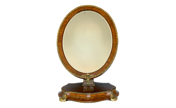Antique Victorian Ormolu Mounted Walnut Toilet Mirror