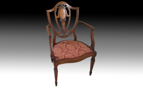 Edwardian Mahogany & Inlaid Antique Arm Chair