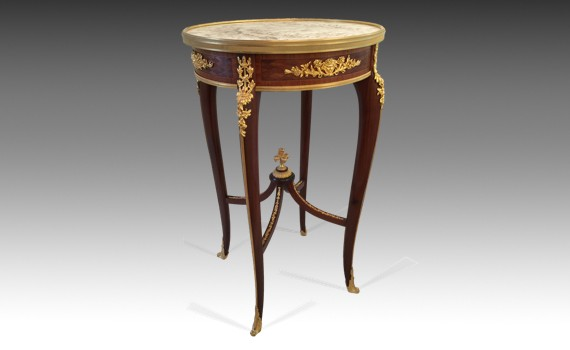 Louis XV Style Kingwood Alabastro Ciliegino Topped Table Ambulante by Francois Linke