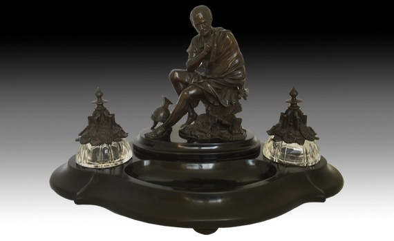 French Bronze Cut Glass & Belgium Marble Inkwell