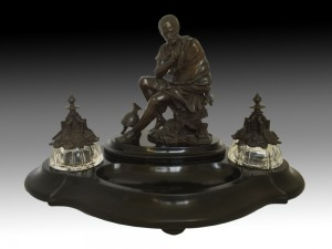 bronze inkwell large