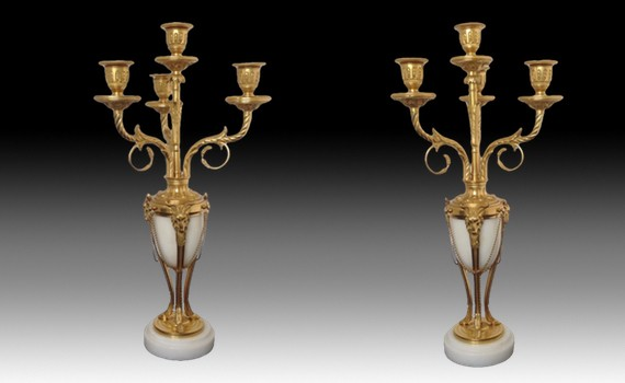 Antique Pair of Gilt Bronze & Marble Four Light Candelabra
