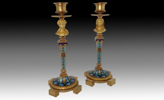 A Pair of French Gilt Bronze & Champlevé Enamel Candlesticks