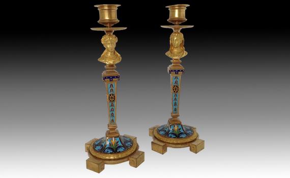 A Pair of French Gilt Bronze & Champlevé Enamel Candlesticks