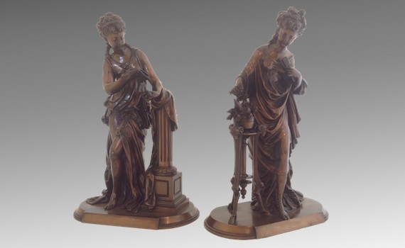 Pair of Antique Classical Female Bronzes by Mathurin Moreau