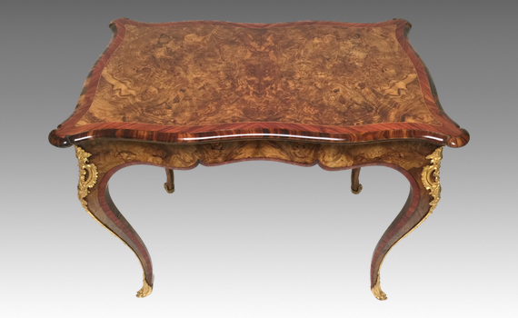 Antique Victorian Walnut & Tulipwood Card Table attributed to Gillows