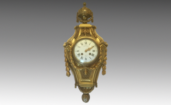 Antique Louis XVI Style Late 19th century French Gilt Bronze Cartel Clock Dubret