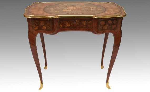 Antique Kingwood & Marquetry Table De Toilette after Jean-François Oeben Attributed to Paul Sormani