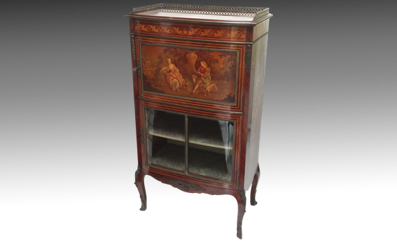 Antique French Rosewood Cabinet Vitrine with Vernis Martin Panel