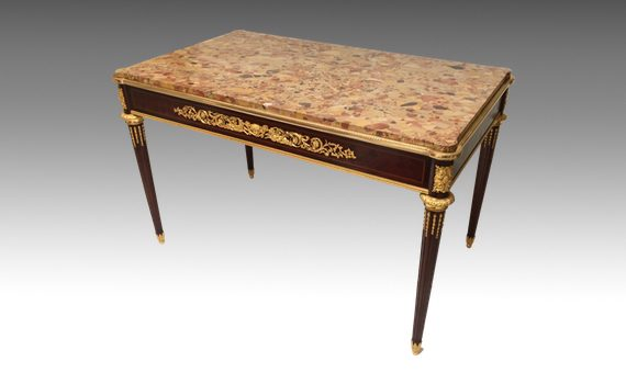 Antique Louis XVI Style Mahogany Centre Table with Marble Top & Ormolu Mounts