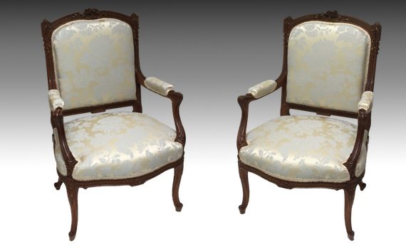 Antique Pair of French Walnut & Parcel Gilt Armchairs Louis XV Style