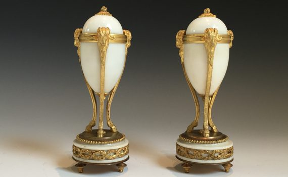 Antique Pair of French Ormolu & Marble Cassolettes